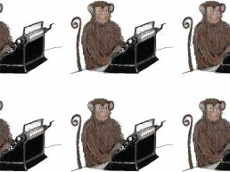 Book cover artwork - rows of monkeys with typewriters