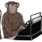 Detail from the book cover - a monkey with a typewriter
