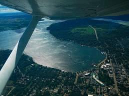 Aerial shot of Lake Geneva to illustrate small is beautiful article
