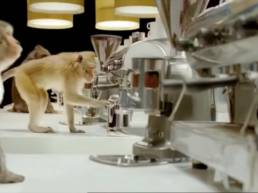 Monkeys try to make coffee in the Costa Coffee ad