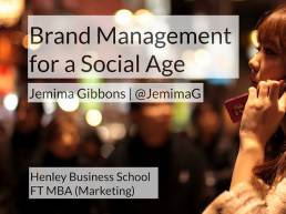Brand management in a social age