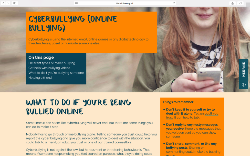 Childline's page on cyber-bullying
