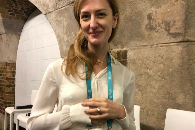 Mel Shapiro with her Token ring  - an all-in-one device you can use to unlock everything (keys, credit cards and passwords rolled into one)