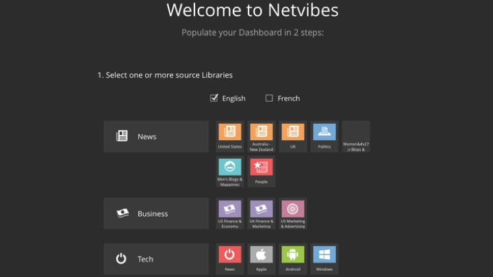Netvibes welcome page