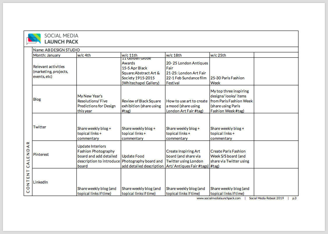 Example - content calendar for an interior design consultant